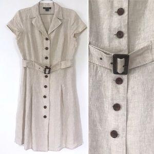 Tan linen button down belted short sleeve dress